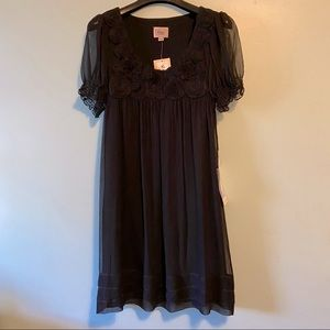 Eci Black Tulle Flowers Dress 8